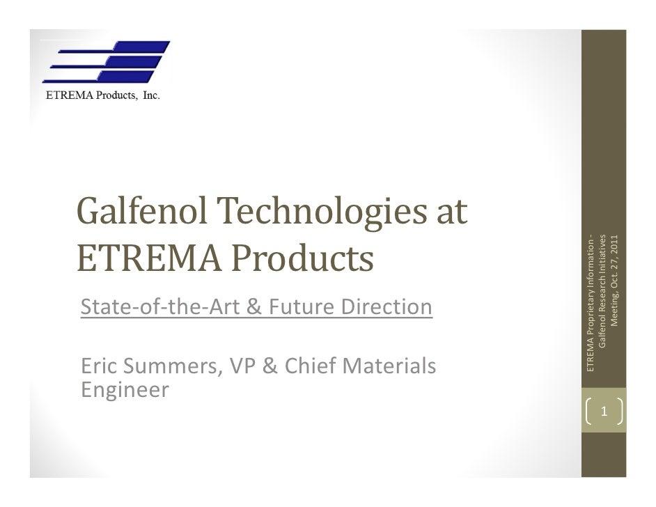 Galfenol Technologies at                                          GalfenolResearchInitiativesETREMA Products           ...