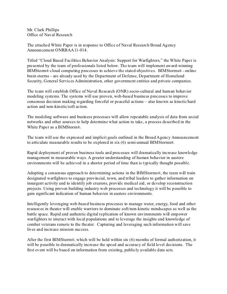 Mr. Clark PhillipsOffice Of Naval ResearchThe Attached White Paper Is In  Response To Office Of ...