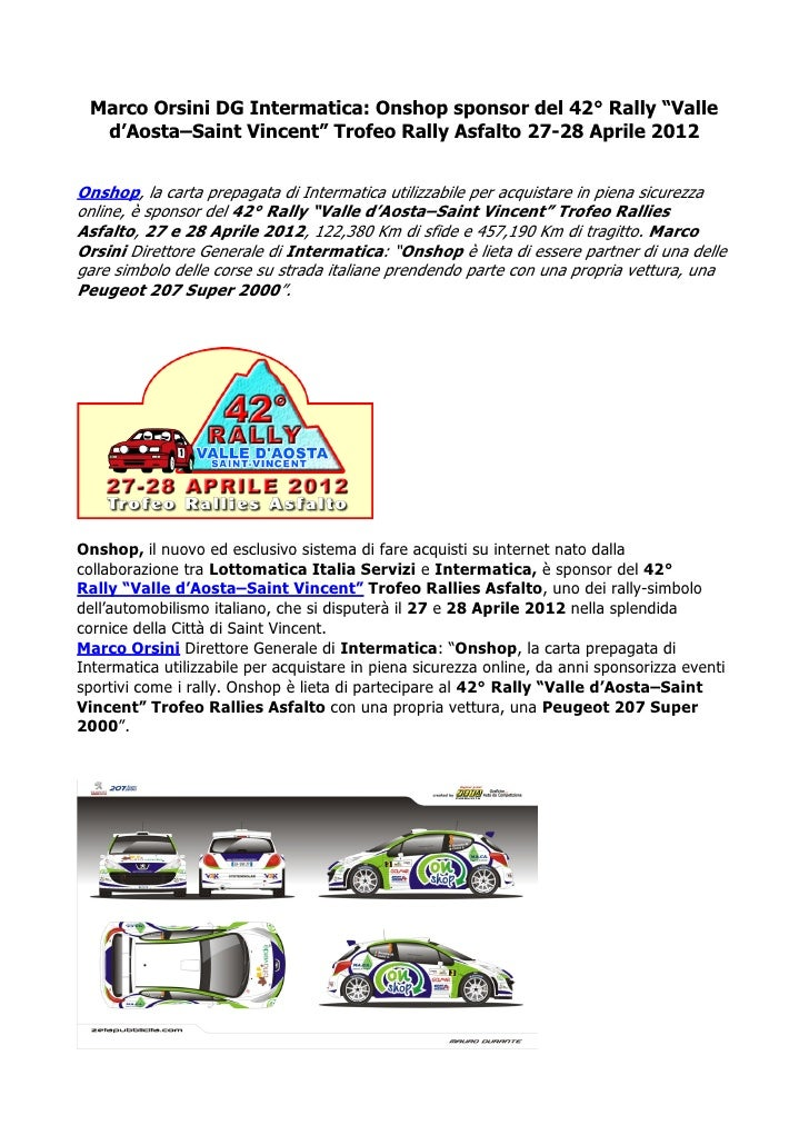 "Marco Orsini DG Intermatica: Onshop sponsor del 42° Rally ""Valle  d'Aosta–Saint Vincent"" Trofeo Rally Asfalto 27-28 Aprile..."