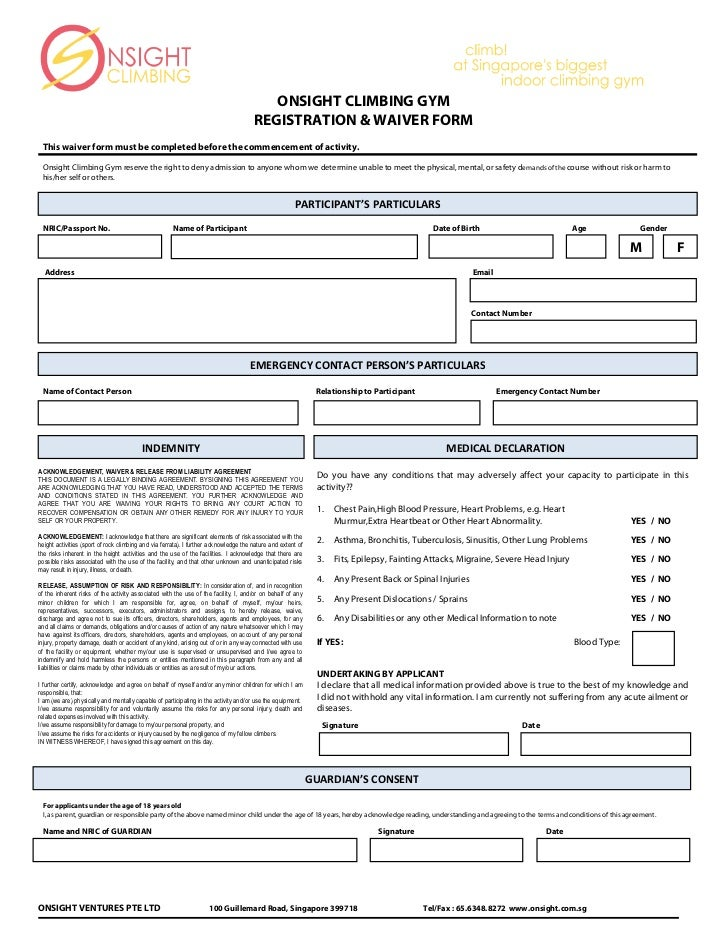 Onsight Indemnity Form. ONSIGHT CLIMBING GYM REGISTRATION ...  Indemnity Forms