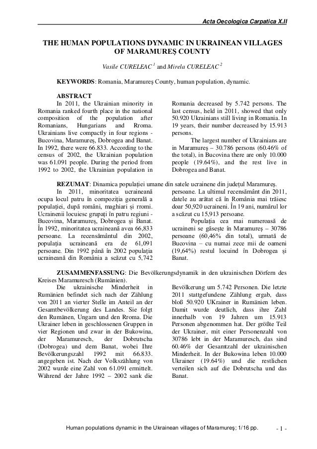 Acta Oecologica Carpatica X.II THE HUMAN POPULATIONS DYNAMIC IN UKRAINEAN VILLAGES OF MARAMUREŞ COUNTY Erika+ Oriana+ Ange...