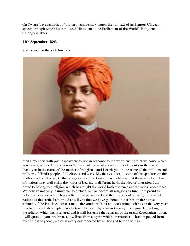 On Swami Vivekanandas 149th birth anniversary, heres the full text of his famous Chicagospeech through which he introduced...