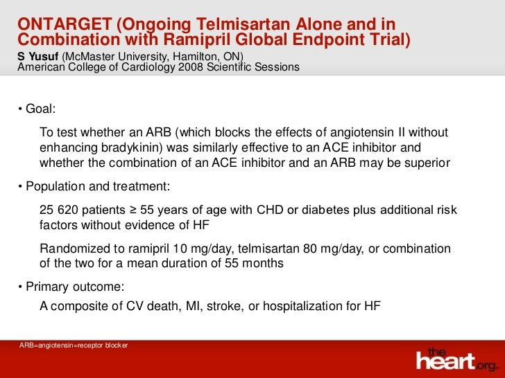ONTARGET trial - Summary & Results with Ramipril Global Endpoint