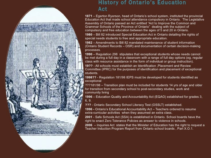 ontario education act essay Education levels in the us are an important first step was taken in 2014 when congress replaced the 1990s-era workforce investment act with the workforce.