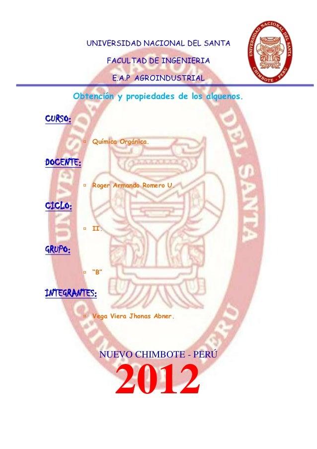 UNIVERSIDAD NACIONAL DEL SANTA                   FACULTAD DE INGENIERIA                    E.A.P AGROINDUSTRIAL         Ob...