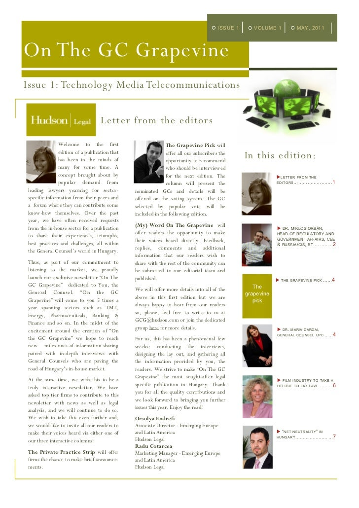 ISSUE 1      VOLUME 1            MAY, 2011On The GC GrapevineIssue 1: Technology Media Telecommunications                 ...