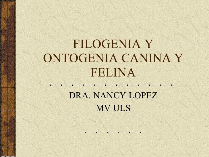 FILOGENIA Y ONTOGENIA CANINA Y FELINA DRA. NANCY LOPEZ MV ULS
