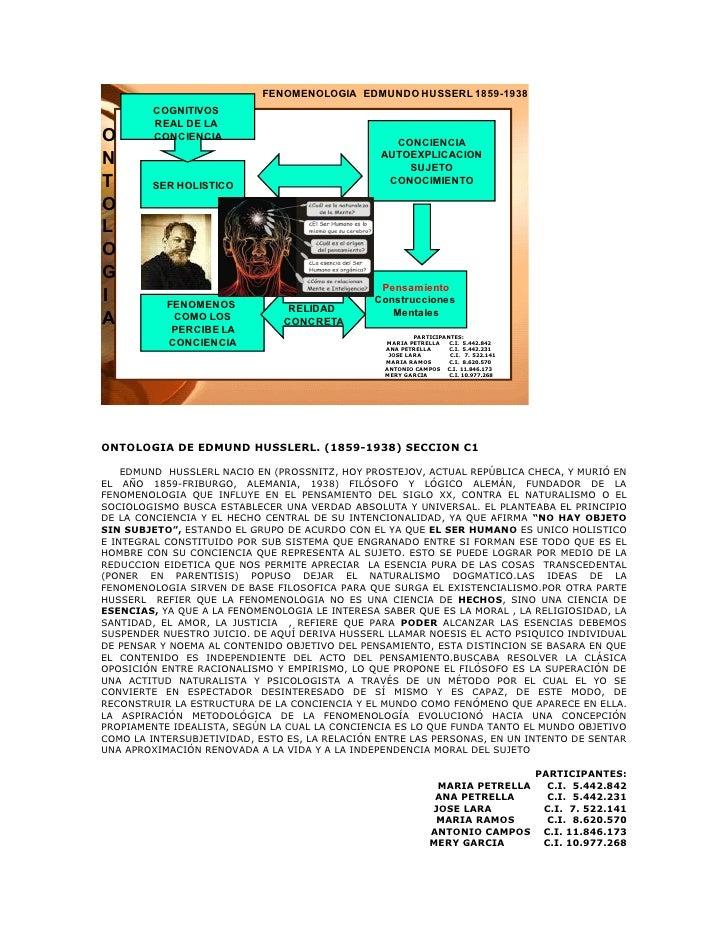 FENOMENOLOGIA EDMUNDO HUSSERL 1859-1938         COGNITIVOS         REAL DE LA O       CONCIENCIA                          ...