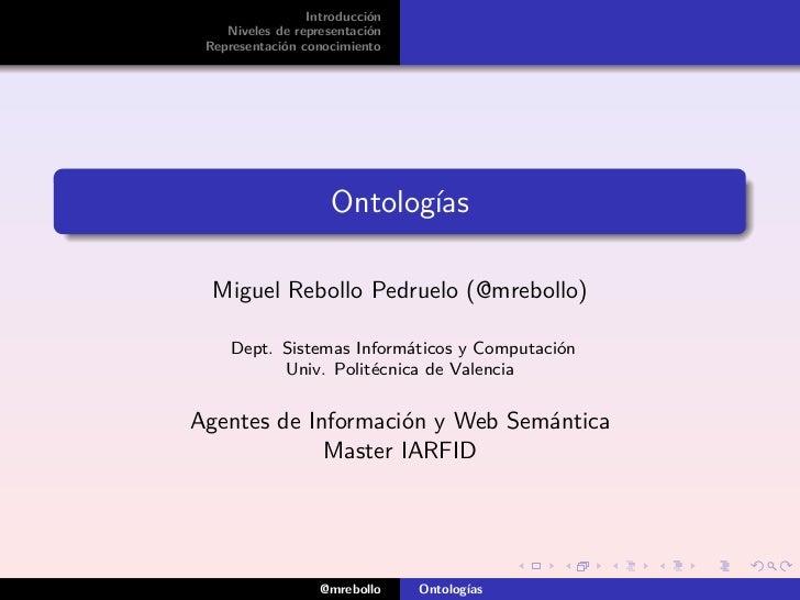 Introducción    Niveles de representación Representación conocimiento                     Ontologías  Miguel Rebollo Pedru...