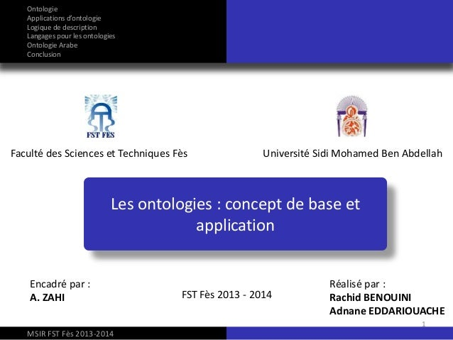 Les ontologies : concept de base et application Faculté des Sciences et Techniques Fès Université Sidi Mohamed Ben Abdella...