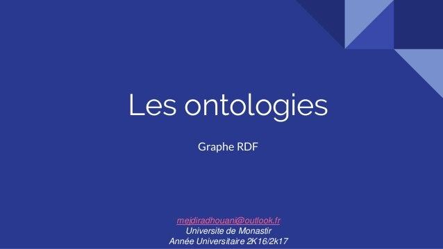 Les ontologies Graphe RDF mejdiradhouani@outlook.fr Universite de Monastir Année Universitaire 2K16/2k17