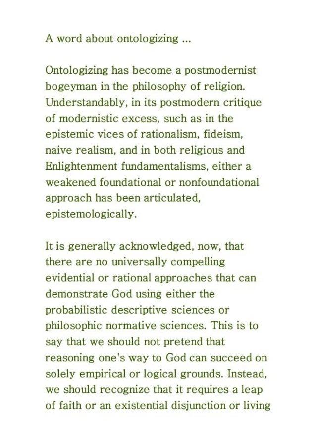 Ontologizing schmontologizing, philosophical or theological