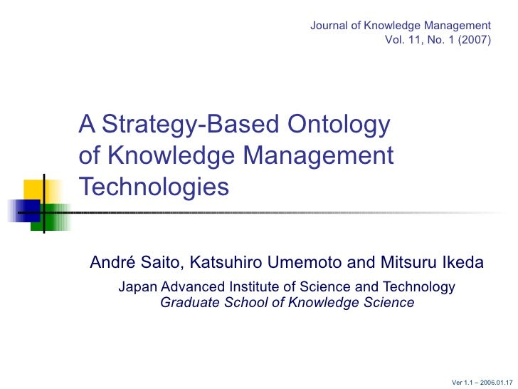 A Strategy-Based Ontology  of Knowledge Management Technologies André Saito, Katsuhiro Umemoto and Mitsuru Ikeda Japan Adv...