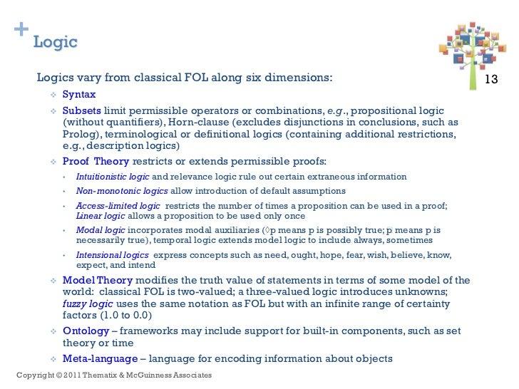 + Logic     Logics vary from classical FOL along six dimensions:                                                   13 13  ...