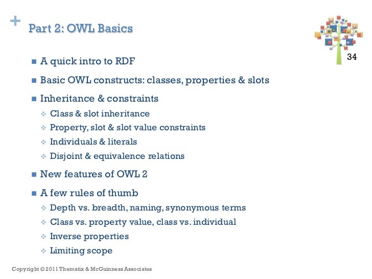 +    Part 2: OWL Basics         A quick intro to RDF                                 34 34         Basic OWL constructs:...