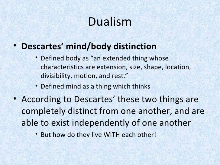 notes on descartes s cartesian dualism Heidegger's reading of descartes' dualism: the relation of the cartesian legacy in consciousness stemming from descartes dualism.