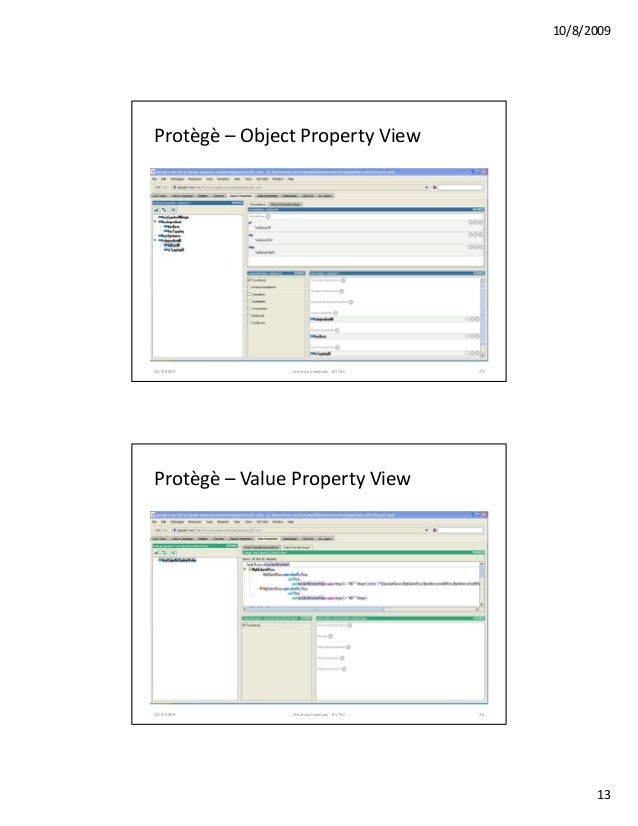 10/8/2009 13 Protѐgѐ – ObjectPropertyView 10/9/2009 Creative Commons - BY-NC 25 Protѐgѐ – ValuePropertyView 10/9/20...