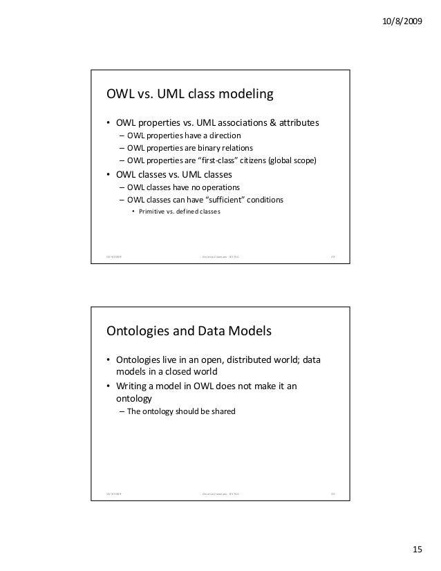 10/8/2009 15 OWLvs.UMLclassmodeling • OWLpropertiesvs.UMLassociations&attributes OWL ti h di ti– OWLproperties...