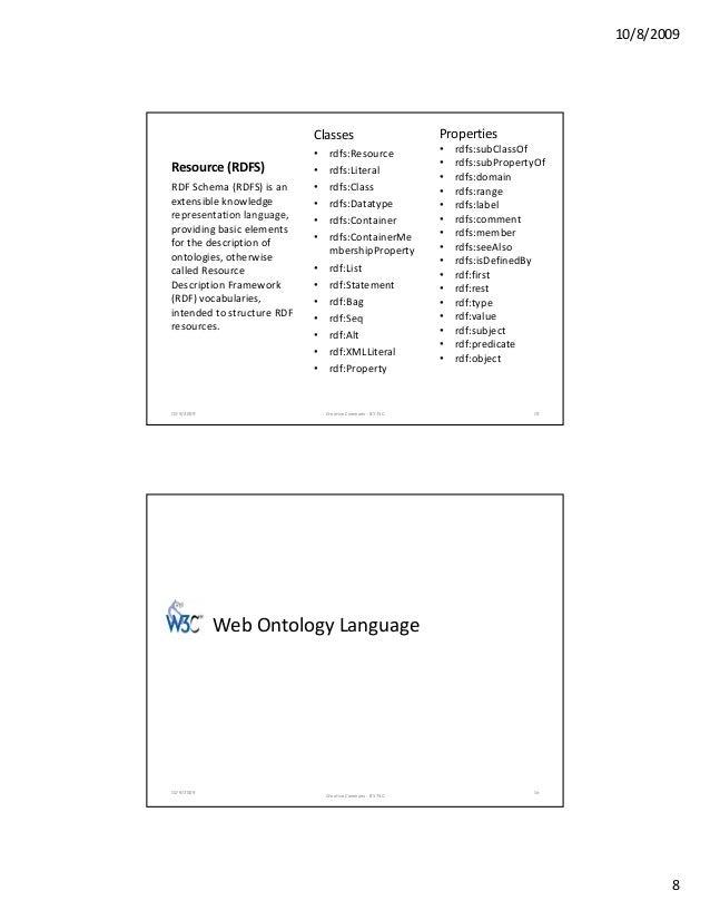 10/8/2009 8 Resource(RDFS) Classes • rdfs:Resource • rdfs:Literal • rdfs:Class • rdfs:Datatype df C i RDFSchema(RDFS)i...