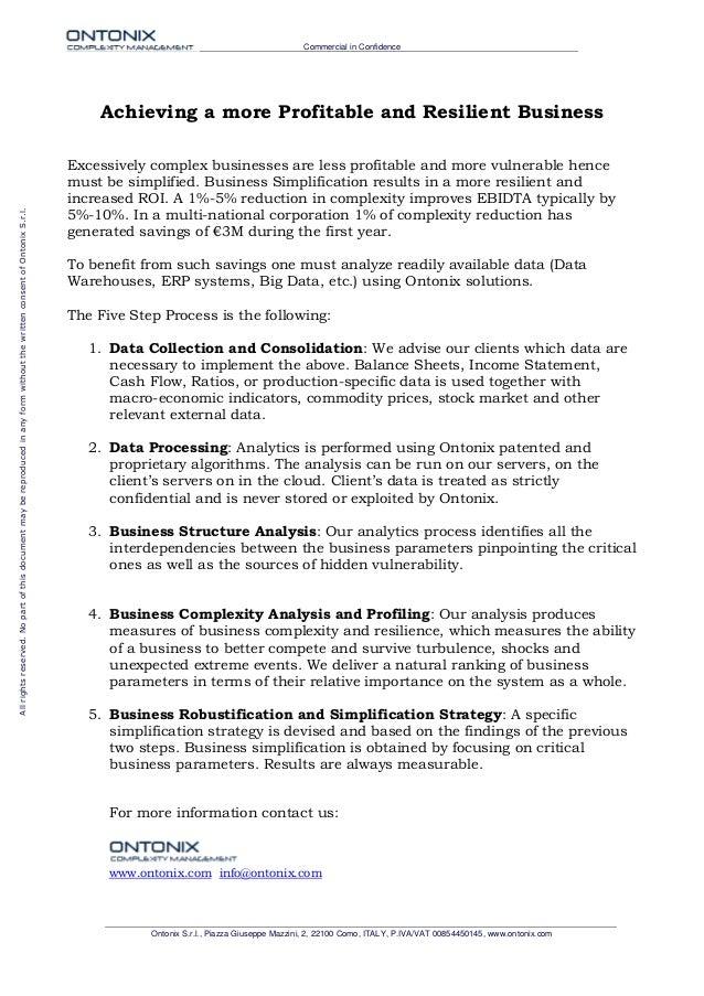 Commercial in Confidence Ontonix S.r.l., Piazza Giuseppe Mazzini, 2, 22100 Como, ITALY, P.IVA/VAT 00854450145, www.ontonix...