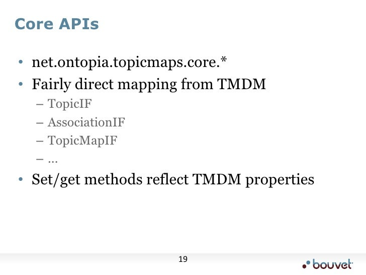 Core APIs<br />net.ontopia.topicmaps.core.*<br />Fairly direct mapping from TMDM<br />TopicIF<br />AssociationIF<br />Topi...
