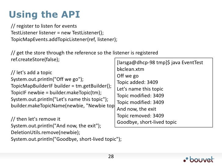 Using the API<br />    // register to listen for events<br />    TestListener listener = new TestListener();<br />    Topi...