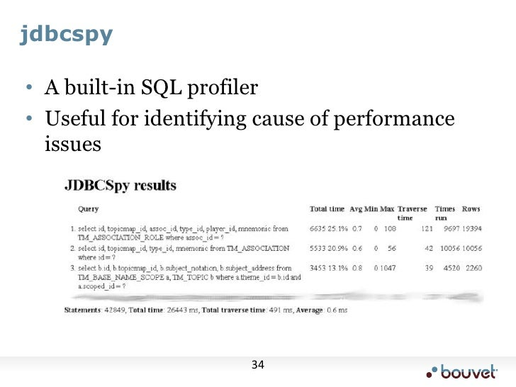 jdbcspy<br />A built-in SQL profiler<br />Useful for identifying cause of performance issues<br />