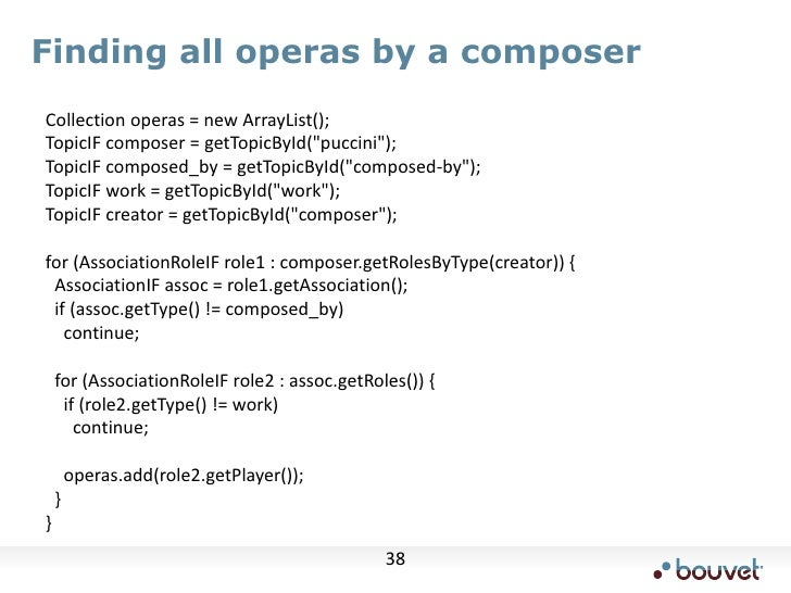 """Finding all operas by a composer<br />    Collection operas = new ArrayList();<br />    TopicIF composer = getTopicById(""""p..."""