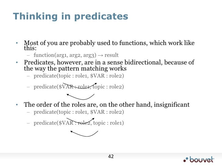 Thinking in predicates<br /><ul><li>Most of you are probably used to functions, which work like this: