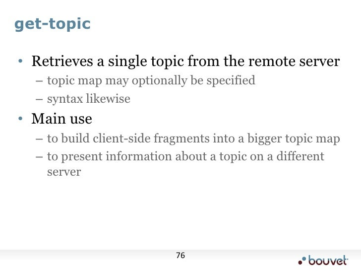 More information<br />Look at sample queries in Omnigator<br />tolog tutorial<br />http://www.ontopia.net/doc/current/doc/...