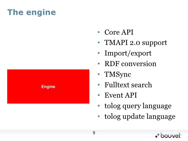 The engine<br />Core API<br />TMAPI 2.0 support<br />Import/export<br />RDF conversion<br />TMSync<br />Fulltext search<br...