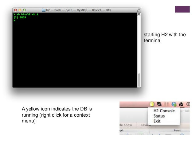 starting H2 with the terminal A yellow icon indicates the DB is running (right click for a context menu)