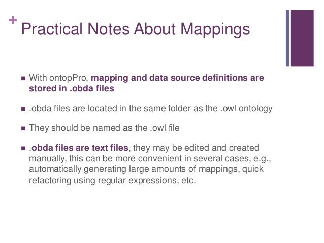 +  The OWL vocabulary so far is a one-to-one reflection of the database, not very interesting or useful  We would like: ...