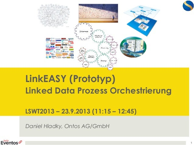 LinkEASY (Prototyp) Linked Data Prozess Orchestrierung LSWT2013 – 23.9.2013 (11:15 – 12:45) Daniel Hladky, Ontos AG/GmbH 1