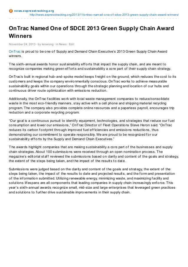 ne ws.e xpre sst racking.o rg http://news.expresstracking.o rg/2013/11/o ntrac-named-o ne-o f-sdce-2013-green-supply-chain...
