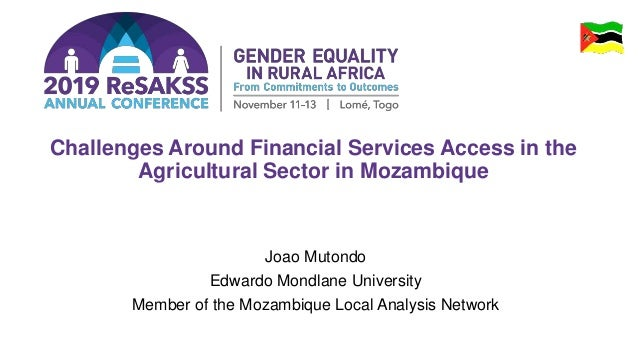 Challenges Around Financial Services Access in the Agricultural Sector in Mozambique Joao Mutondo Edwardo Mondlane Univers...