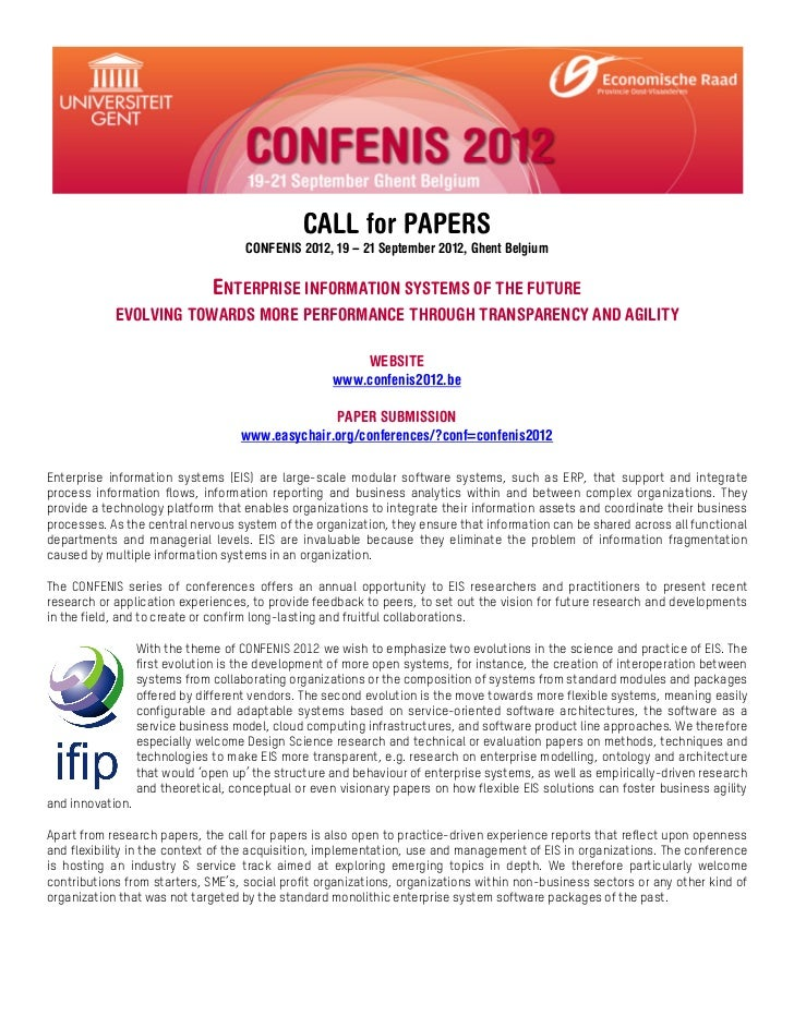 CALL for PAPERS                                     CONFENIS 2012, 19 – 21 September 2012, Ghent Belgium                  ...