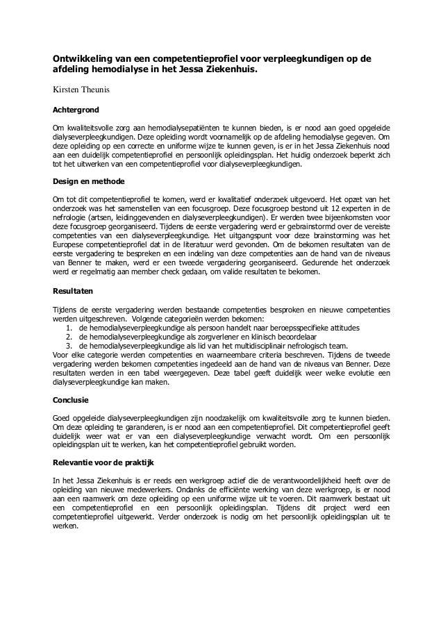 Ontwikkeling van een competentieprofiel voor verpleegkundigen op deafdeling hemodialyse in het Jessa Ziekenhuis.Kirsten Th...