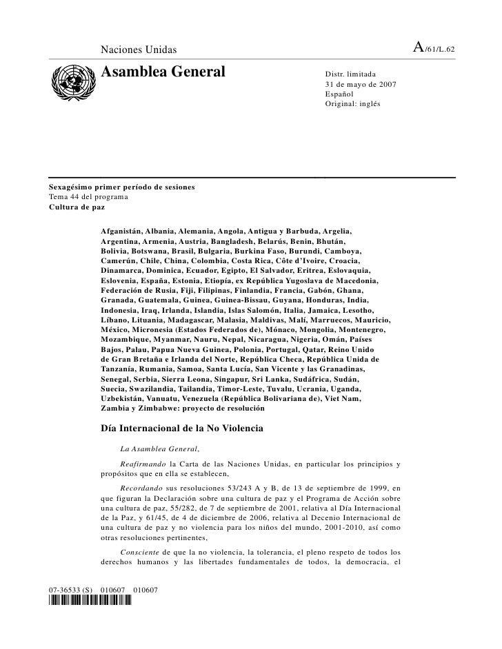 Naciones Unidas                                                                         A/61/L.62              Asamblea Ge...