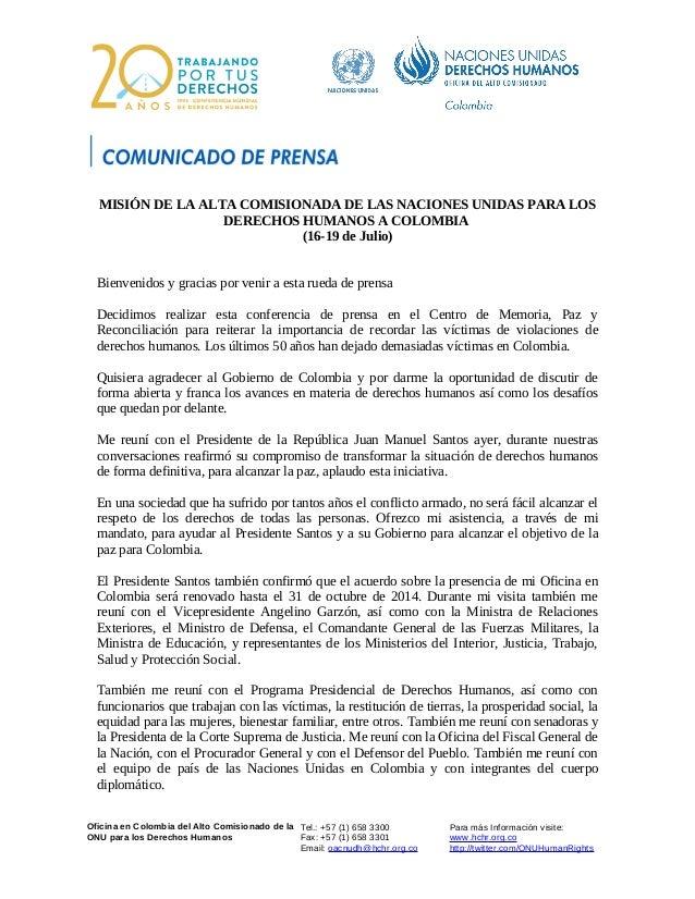 Oficina en Colombia del Alto Comisionado de la ONU para los Derechos Humanos Tel.: +57 (1) 658 3300 Fax: +57 (1) 658 3301 ...