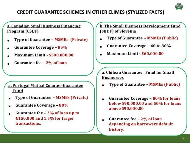 Government support using grants, loans and guarantee schemes.