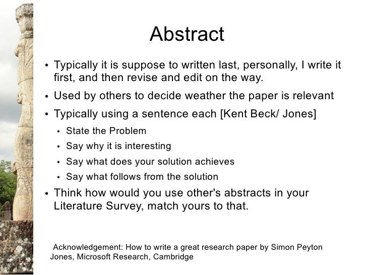 Abstract Sample In Research Paper