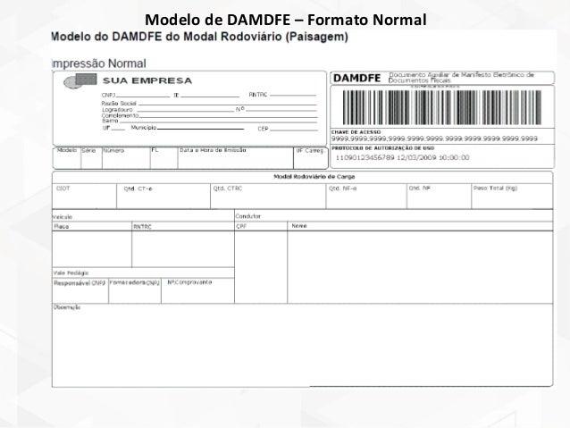 Modelo de DAMDFE – Formato Normal OBS: Diferente da emissão da NF-e e CT-e, que existem vários modelos de contingência, no...