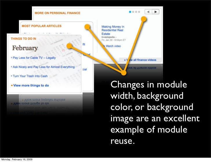 Changes in module                             width, background                             color, or background          ...