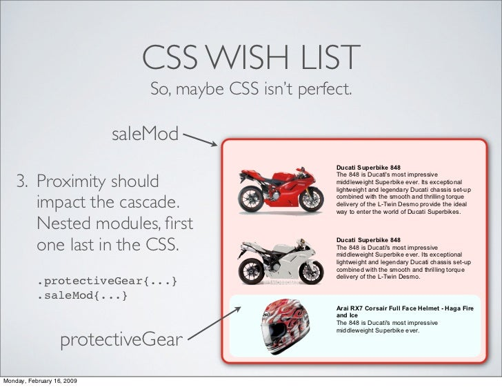 CSS WISH LIST                                 So, maybe CSS isn't perfect.                              saleMod           ...