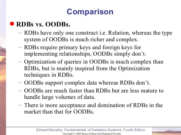 what is rdbms ordbms and oodbms information technology essay Intro to rdbms-oodbms-ordbms seema sirpal delhi university computer centre databases data - raw facts/details database- a shared collection of logically related data there is an information explosion in today's society.