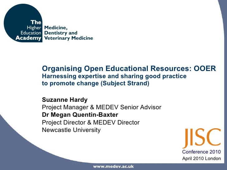 Organising Open Educational Resources: OOER Harnessing expertise and sharing good practice  to promote change (Subject Str...
