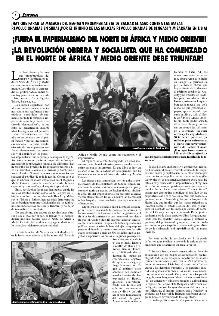 1     EDITORIAL¡HAY QUE PARAR LA MASACRE DEL RÉGIMEN PROIMPERIALISTA DE BACHAR EL ASAD CONTRA LAS MASASREVOLUCIONARIAS EN ...