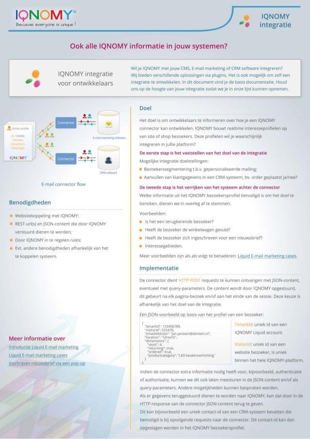 IQNOMY integratie voor technische ontwikkelaars