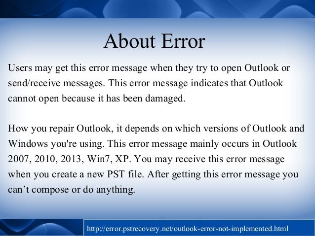 Resolve Microsoft Outlook Error